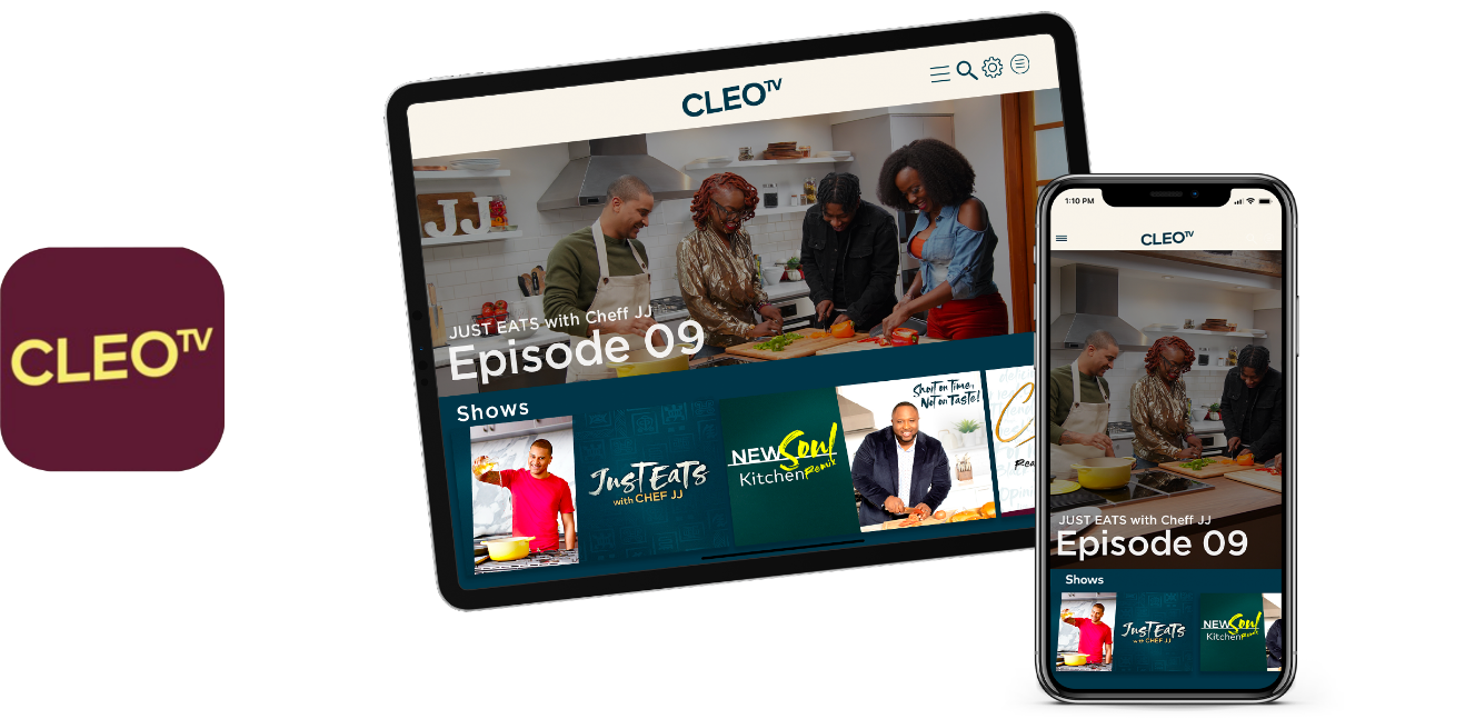 Tablet and Mobile CLEO TV app Screenshot