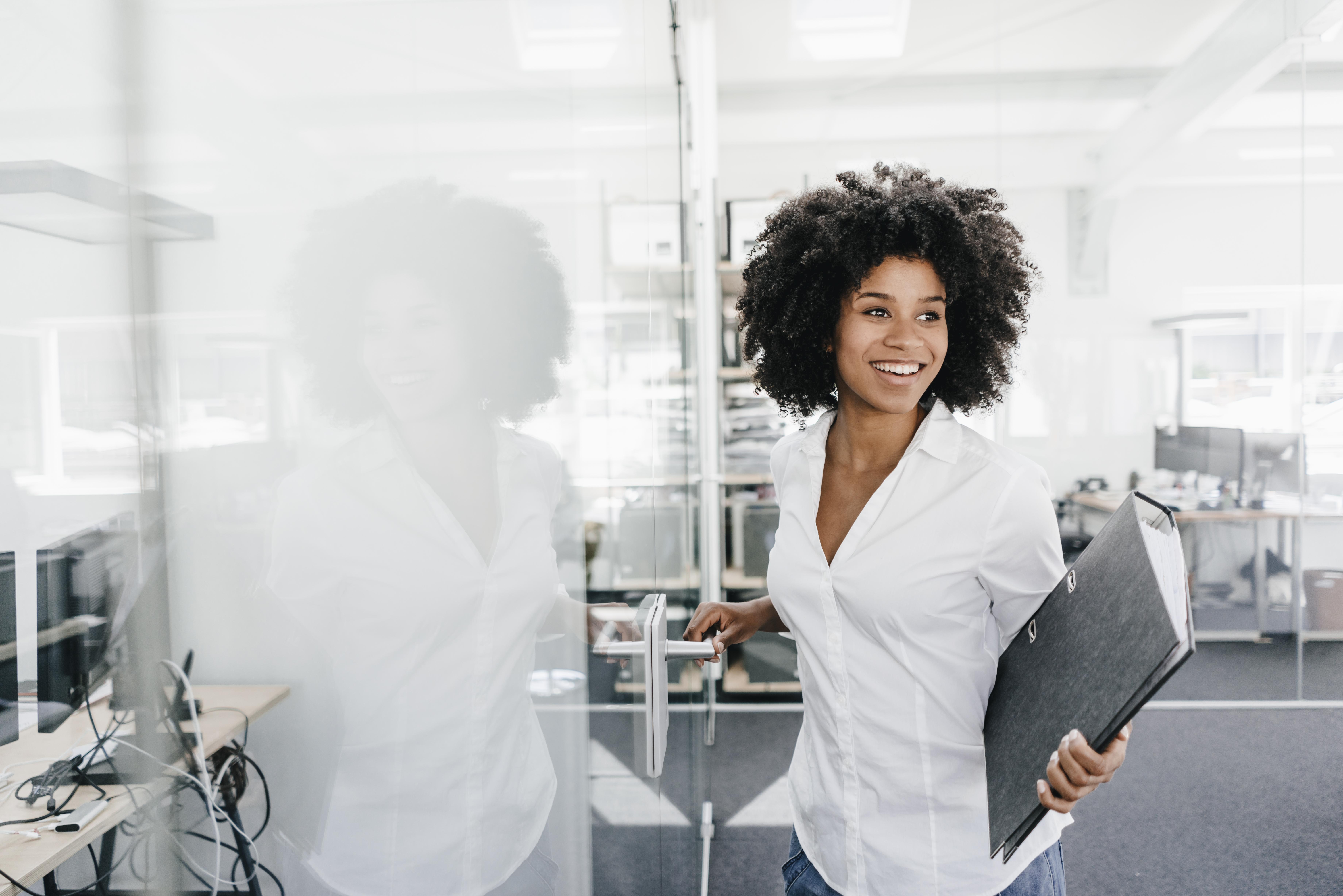 Natural black girl at work