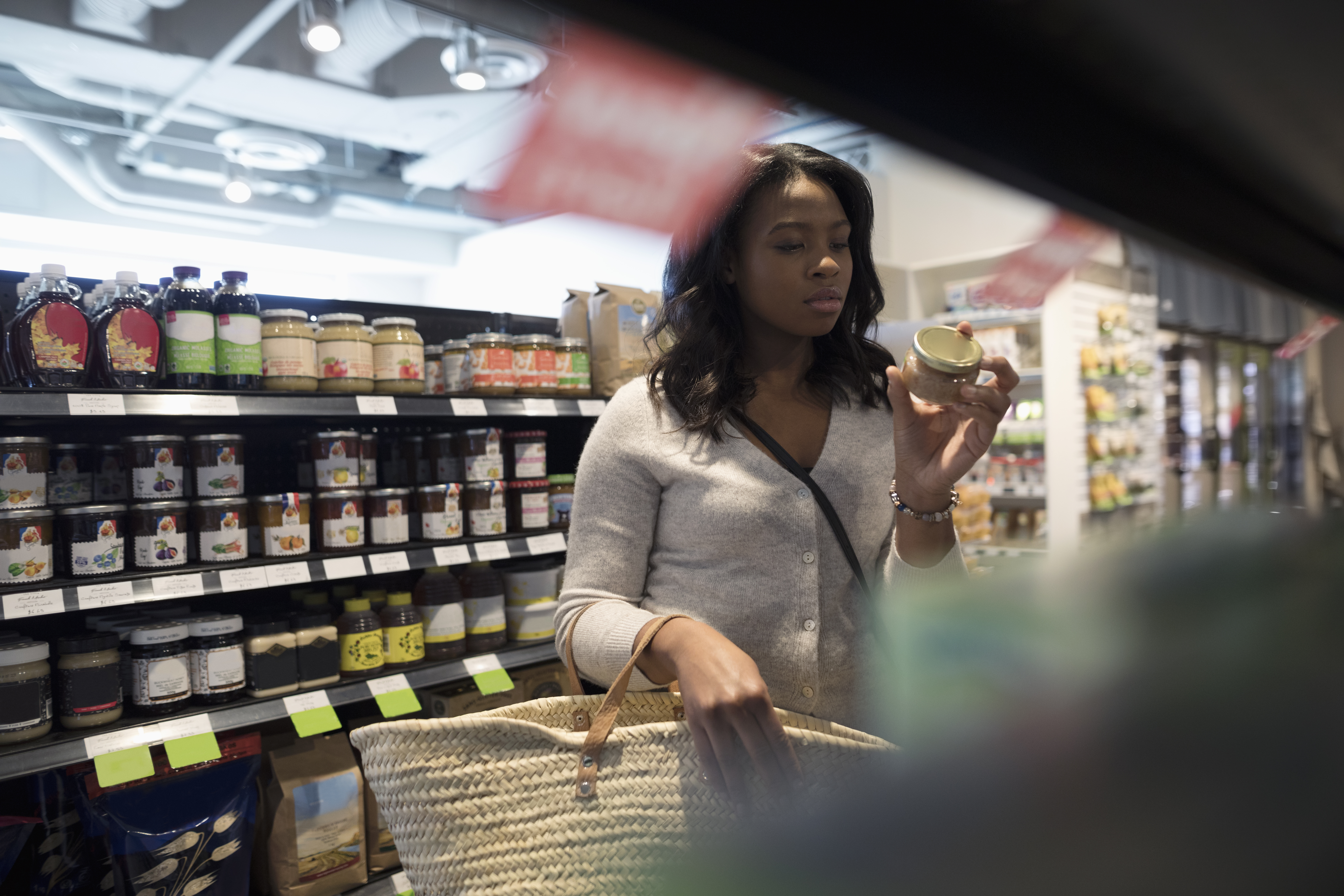 Black woman in grocery store