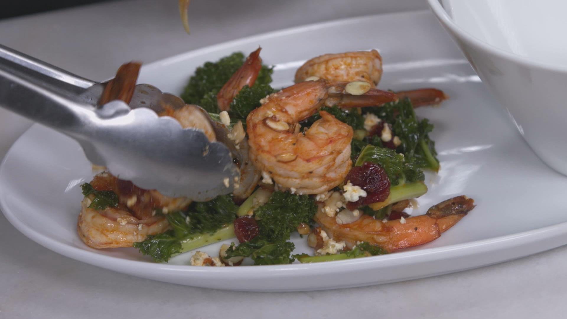 Kale and Shrimp Salad with Warm Cranberry Sauce New Soul Kitchen Remix 104 2